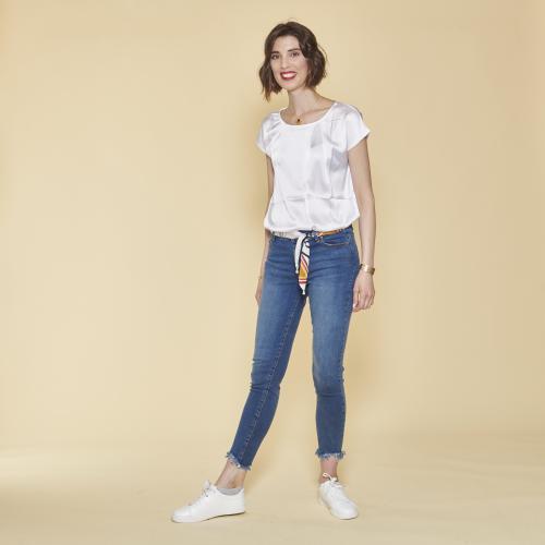 b452bc0fceb 3 SUISSES - Blouse mini manches femme - Blanc - Blouses femme