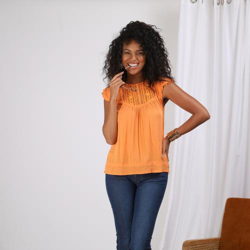 3 SUISSES - Blouse sans manche encolure en guipure femme - Orange - Blouse