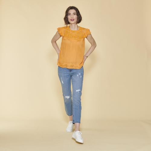 3 SUISSES - Blouse sans manches encolure en guipure femme - Orange