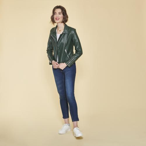 1d5887a6a354b 3 SUISSES - Blouson perfecto zippé et doublé perles fantaisie - Vert  Bouteille - Veste en
