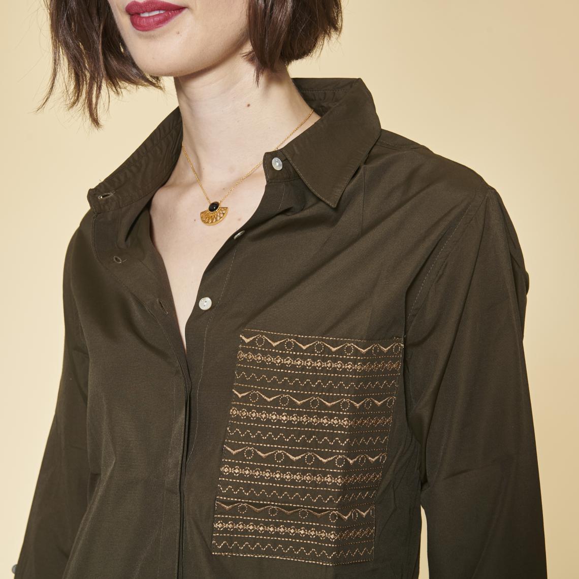 Chemise asymétrique fendue boutons latéraux manches longues femme - Kaki SvgRC
