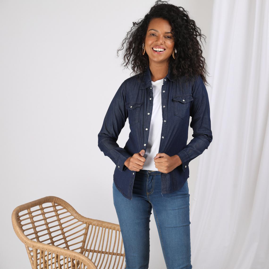 Chemise en jean à pressions manches longues femme bleu foncé 2 Avis Plus de détails
