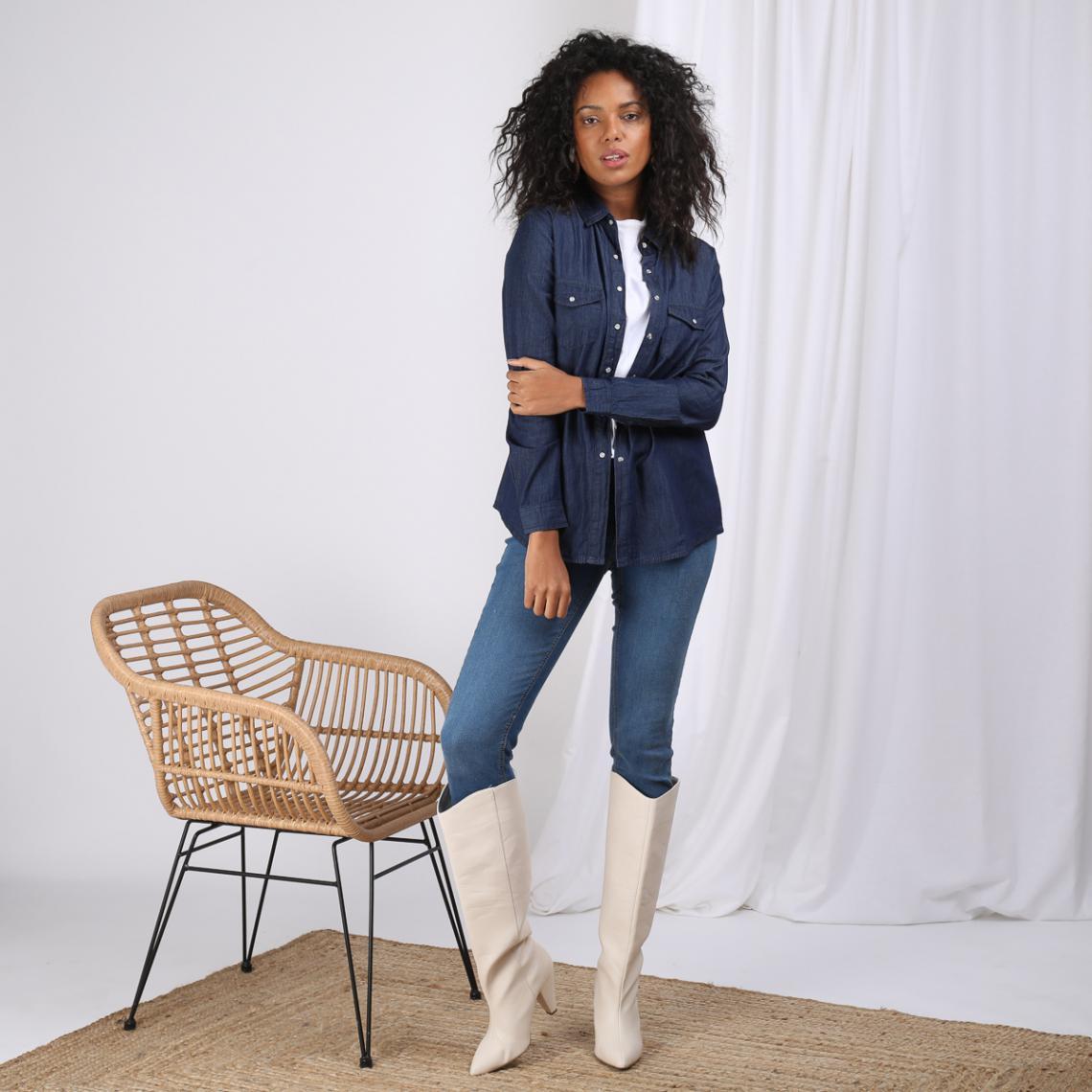 32c2b2cbbc Chemise en jean avec pressions manches longues broderie dos femme - bleu  foncé