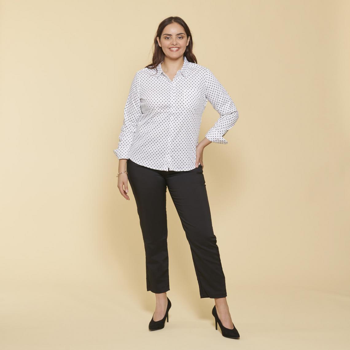Chemise manches longues bas arrondi - Blanc et - 3 SUISSES - Modalova