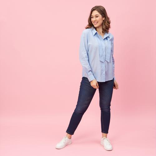 bbc04714c Chemise manches longues rubans effet cravate femme - Bleu