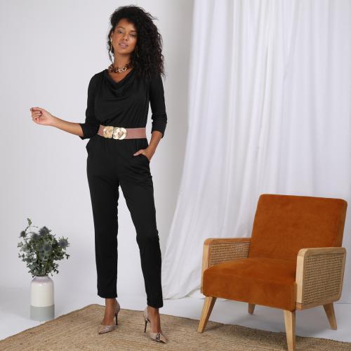 2d3bc96dbf3a1 3 SUISSES - Combinaison manches 3 4 taille élastique dos en V femme - Noir