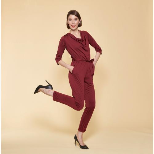 6d6799584eb1f Combinaison manches 3/4 taille élastique dos en V femme - Rouge Grenat