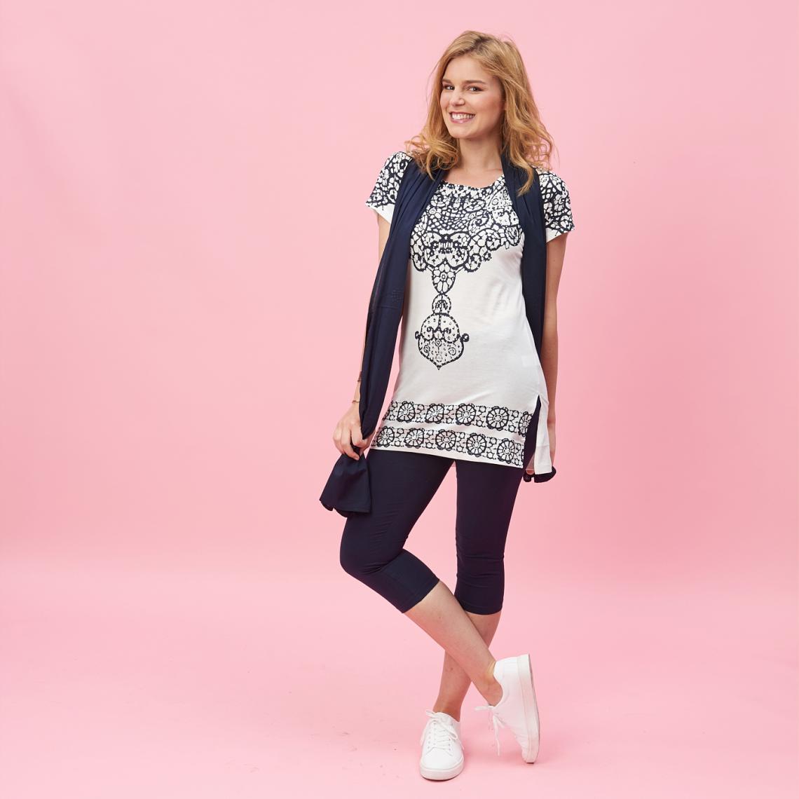 Ensemble tee-shirt, legging et foulard - Bleu - 3 SUISSES - Modalova