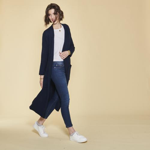 7bf5e27eda8 3 SUISSES - Gilet long fendu manches longues et poches femme - Bleu Marine  - Gilets