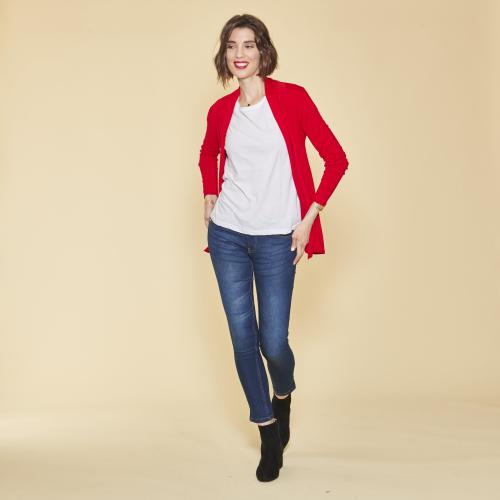 3 SUISSES - Gilet manches longues femme - Rouge - Pull / Gilet