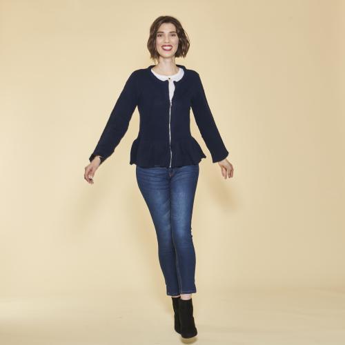 820e3cf7221 3 SUISSES - Gilet zippé manches longues bas volanté femme - Bleu Marine -  Pull