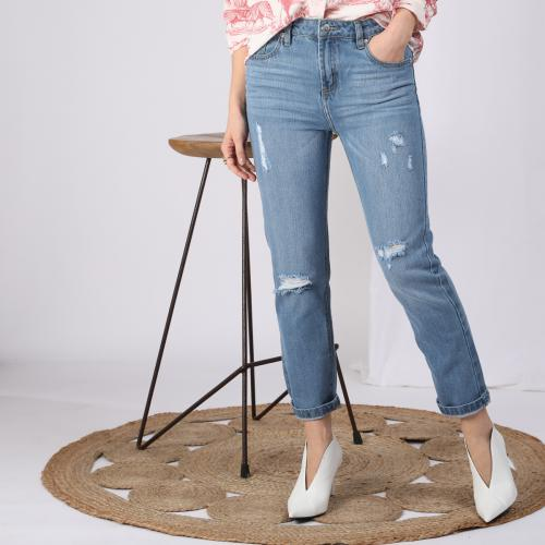 3 SUISSES - Jean large 5 poches déchiré devant femme - Blue Denim - Jean slim