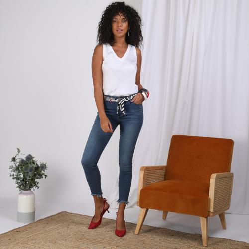 d29a0ea91b 3 SUISSES - Jean skinny sur chevilles bas effilochés et ceinture femme -  Bleu - Jean