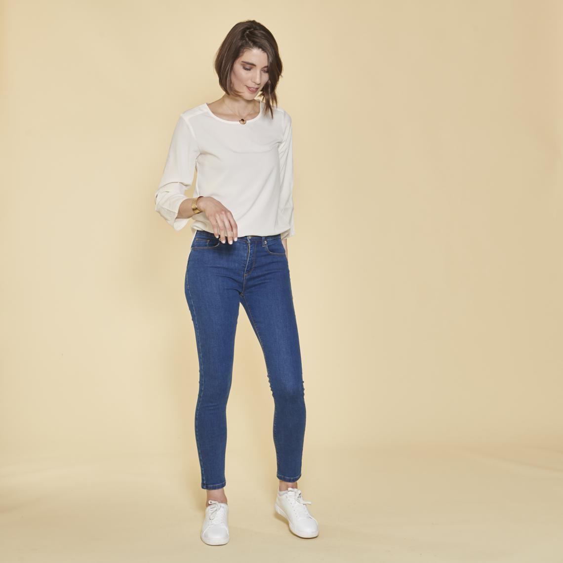 Jean skinny taille haute pierres fantaisie sur poche - foncé - 3 SUISSES - Modalova