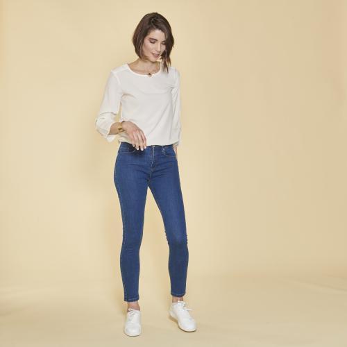718e64bd9bd5b 3 SUISSES - Jean skinny taille haute pierres fantaisie sur poche femme -  bleu foncé -