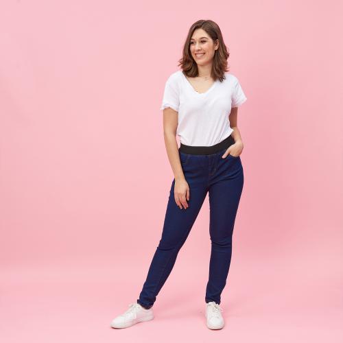 0e42bc082555c6 Jean taille élastique plane grandes tailles femme - bleu foncé