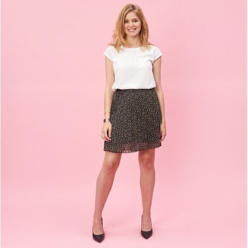 6bbdde87204e8 Jupe courte plissée doublée taille élastique femme - Blanc