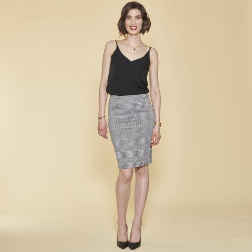 2fac76357cab0 Jupe crayon à carreaux taille élastique femme - Carreaux noir / blanc