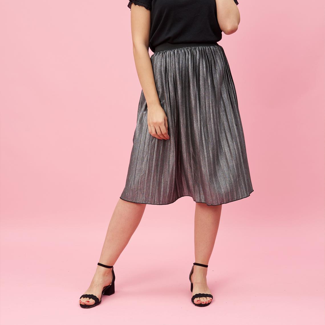2e8f209e947eb2 Jupe longue plissée taille élastique femme - Gris | 3 SUISSES