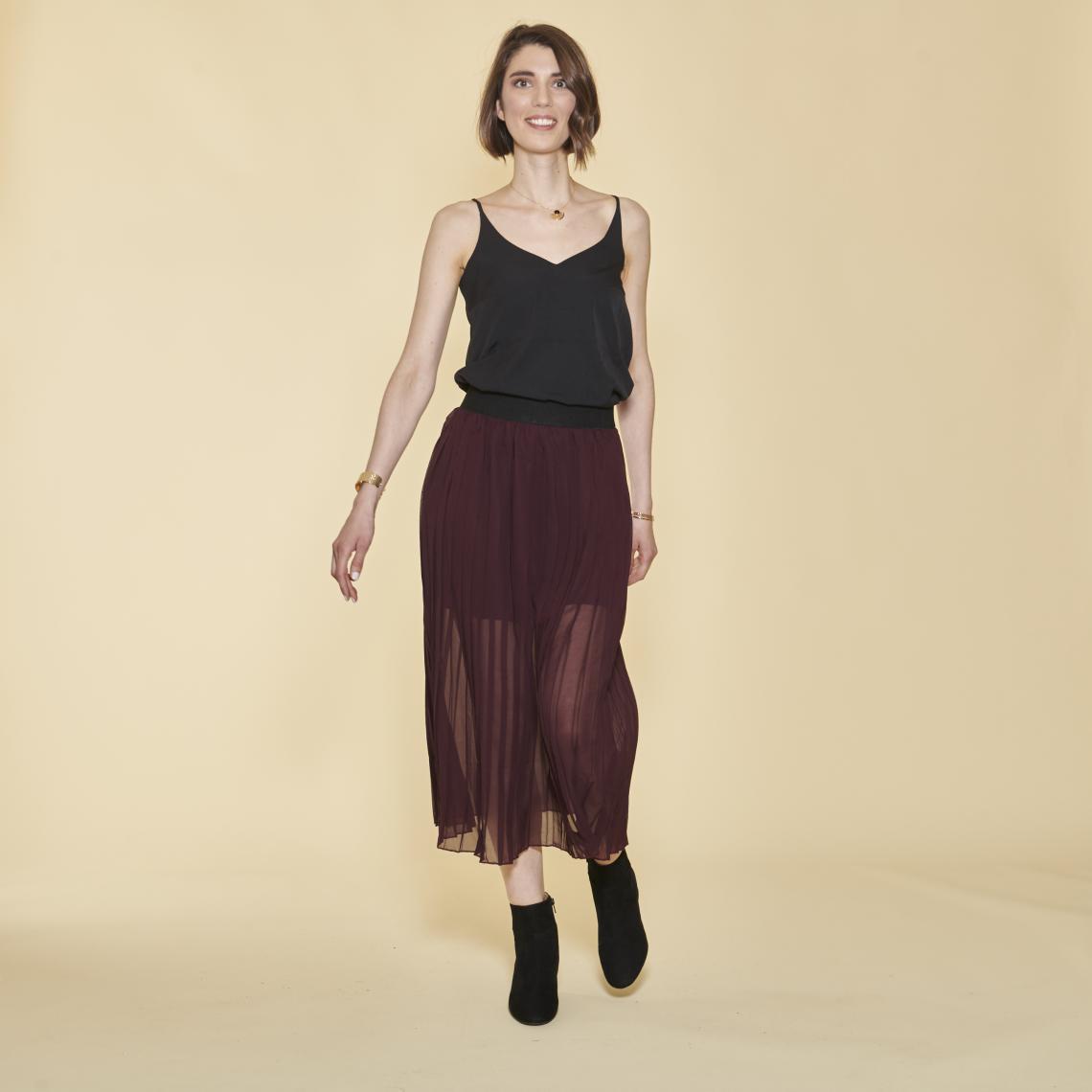 Jupe longue plissée taille élastique femme Lie De Vin 10 Avis