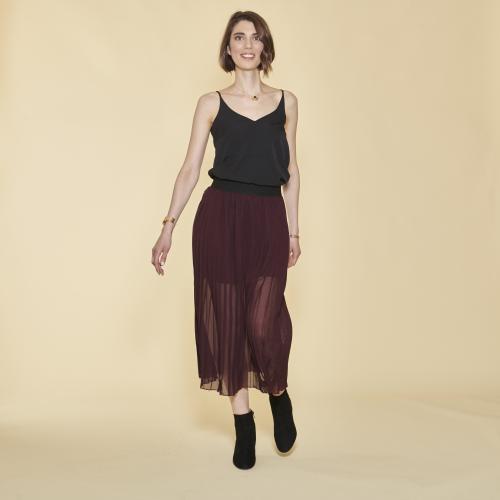 964ae41c7a313 Jupe longue plissée taille élastique femme - Lie De Vin