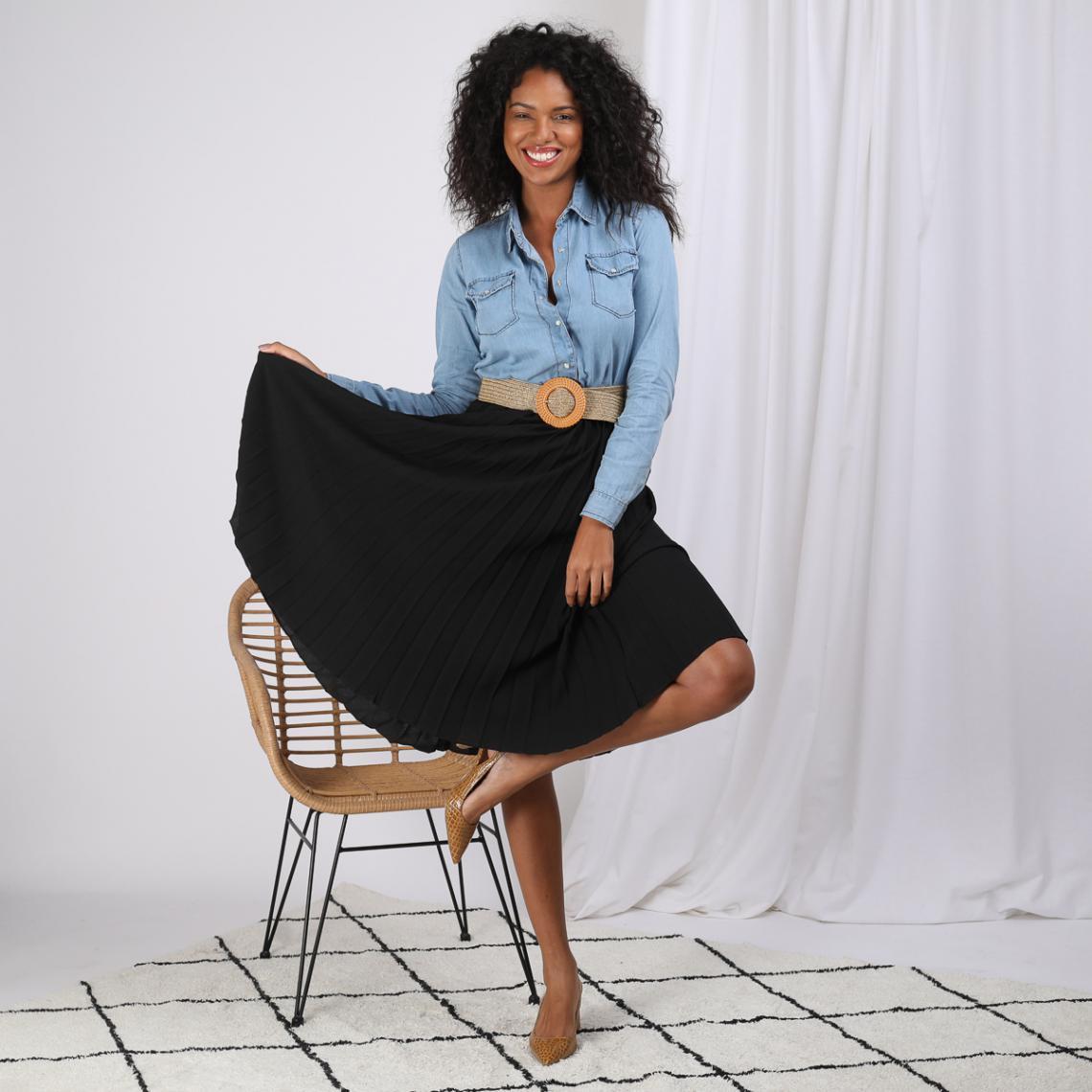 0e39f5ddee3820 Jupe mi-longue plissée taille élastique dos femme - Noir | 3 SUISSES