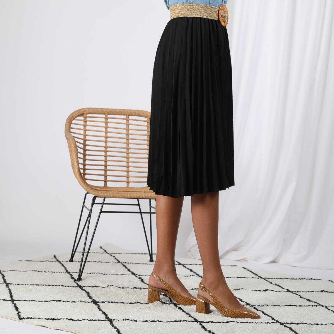 Promo : Jupe mi-longue plissée taille élastique dos - Noir - 3S. x Le Vestiaire - Modalova