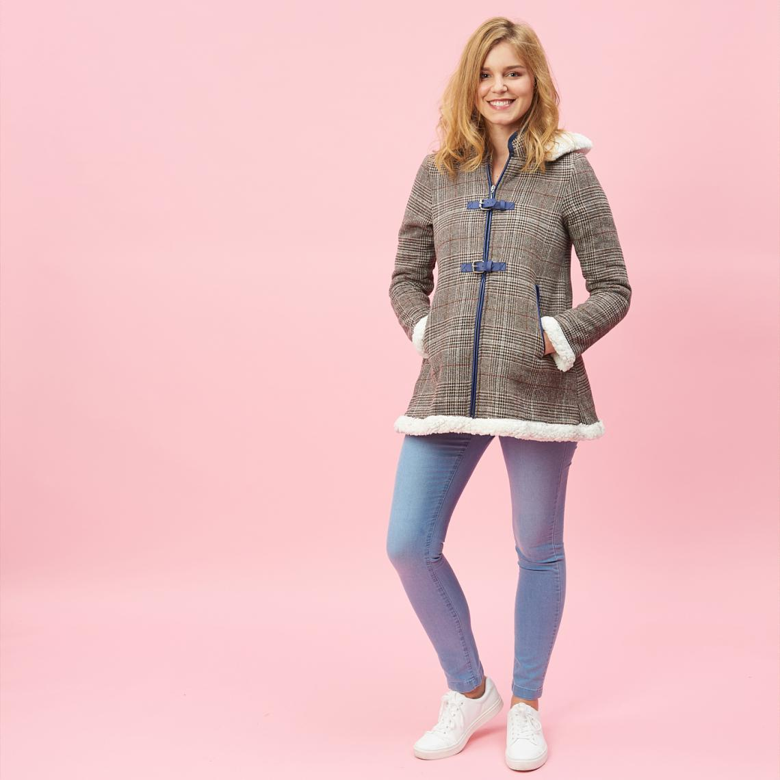 Manteau à carreaux zippé capuche et doublure fourrure - Carreaux - 3 SUISSES - Modalova