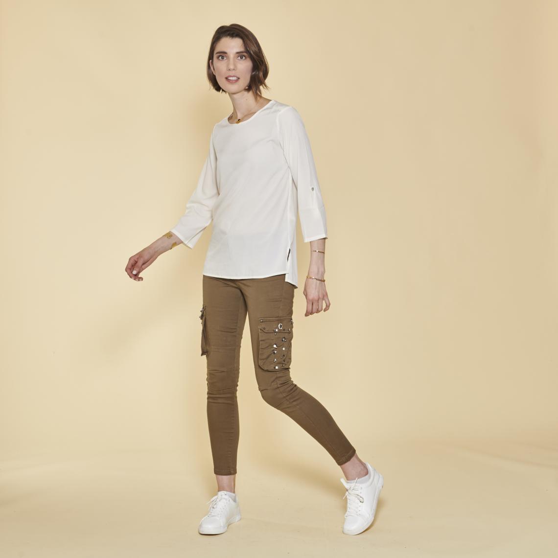 Pantalon cargo sur chevilles poches latérales et coutures genoux - Kaki - 3 SUISSES - Modalova