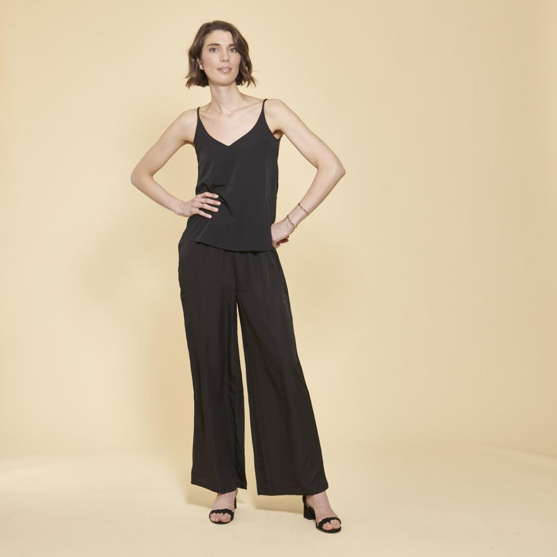 Pantalon large uni taille élastique froncée - 3 SUISSES - Modalova