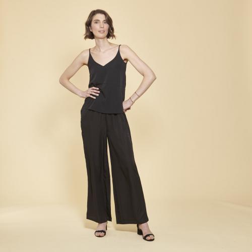 8e4607b33eb047 3 SUISSES - Pantalon large uni taille élastique froncée femme - Noir -  Pantalon