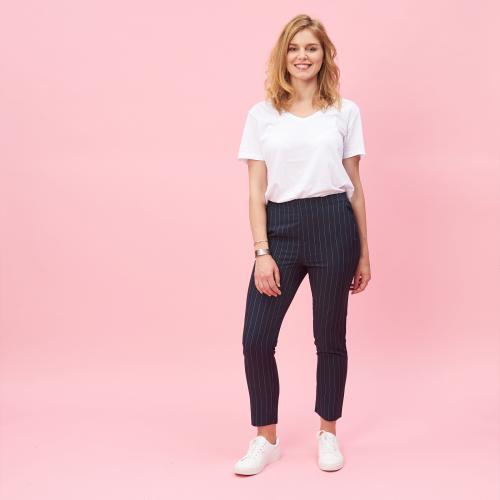 937574e7f2337 3 SUISSES - Pantalon rayé taille élastique et pinces dos femme - Bleu -  Pantalon