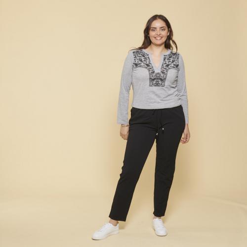 3 SUISSES , Pantalon taille élastique et cordon poches grandes tailles  femme , Noir , Mode