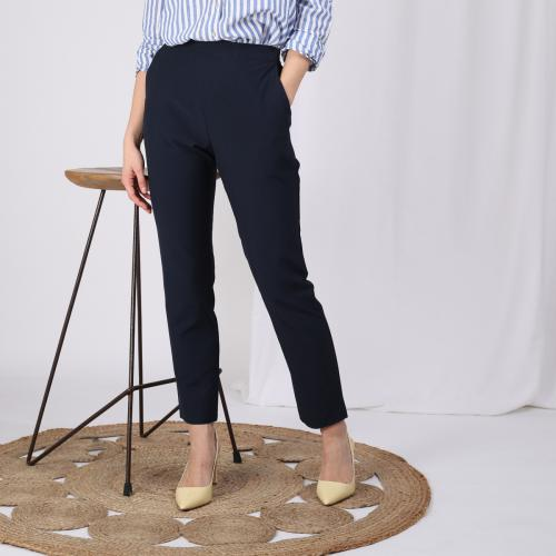f4c00ba6dfd49a 3 SUISSES - Pantalon taille élastique et pinces dos femme - Bleu - Mode  Grande Taille