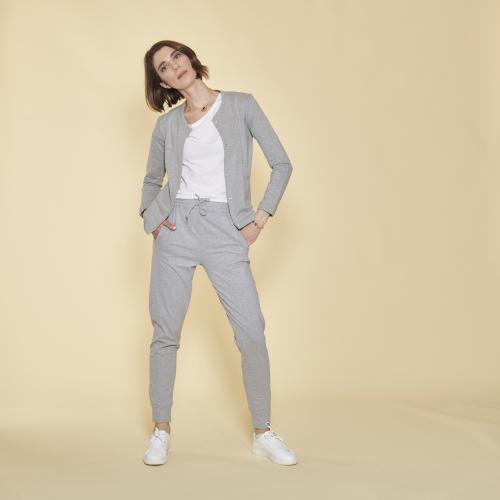 0105aae40c4 3 SUISSES - Pantalon taille et bas élastiques femme - gris chiné - Pantalons  de jogging