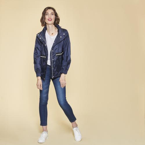 412c943883 3 SUISSES - Parka asymétrique col montant et capuche femme - Bleu Marine -  Manteau