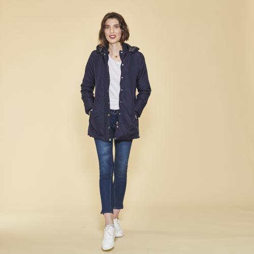 1df87555ae 3 SUISSES - Parka avec capuche amovible femme - Bleu - Manteau