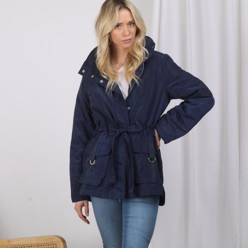 4fd32ce7bb 3 SUISSES - Parka matelassée zip et ceinture capuche et poches femme - Bleu  Marine -
