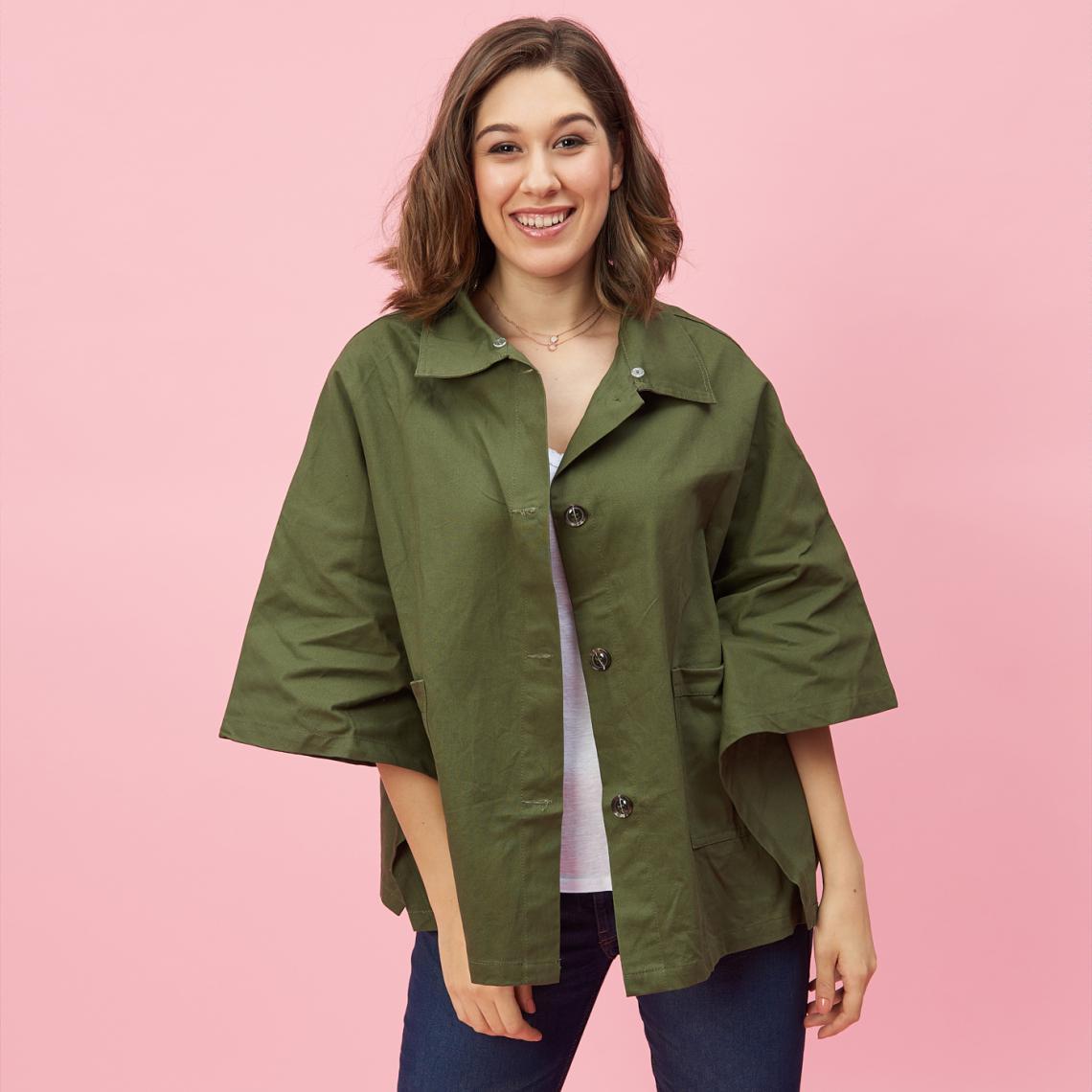 taille 40 0b0e4 cd064 Parka poncho col chemise et boutons femme - Vert | 3 SUISSES