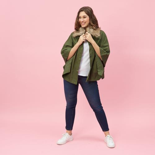 Et Chemise Parka Poncho Boutons Vert Femme Col BxWrCode
