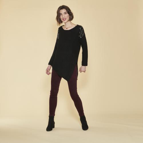 df0d3c477f4 3 SUISSES - Pull asymétrique fente latérale manches longues et punaises  femme - Noir - Pull