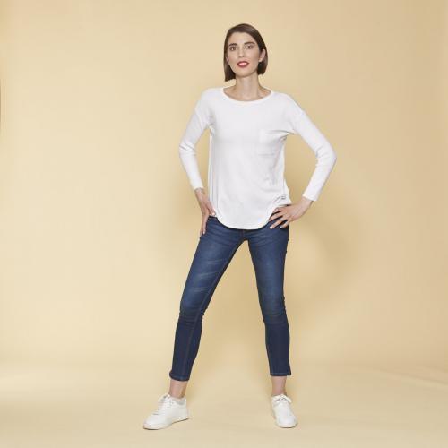 cc7fefa5276 3 SUISSES - Pull manches longues en côtes femme - Blanc - Pull   Gilet