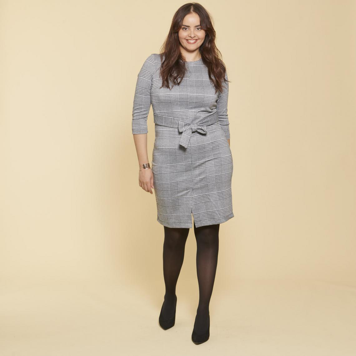 Robe courte à carreaux manches 3/4 et ceinture à nouer femme - Carreaux noir / blanc - 3Suisses