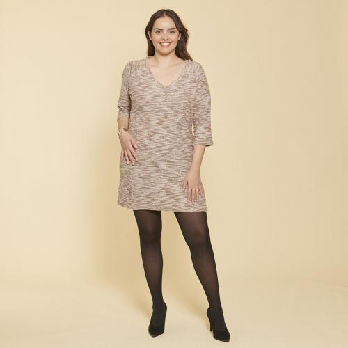 12abaa746aa 3 SUISSES - Robe courte cintrée manches 3 4 en molleton femme - Robe