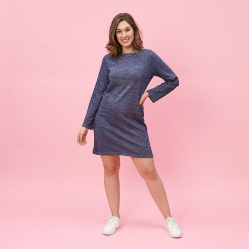 144f584ed3fe7e Robe courte cintrée manches longues femme - Bleu