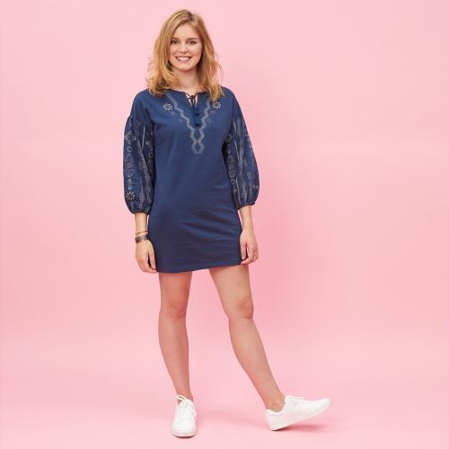 fd2f241145f9e1 Robe courte col caftan manches longues avec imprimés femme - Bleu Nuit