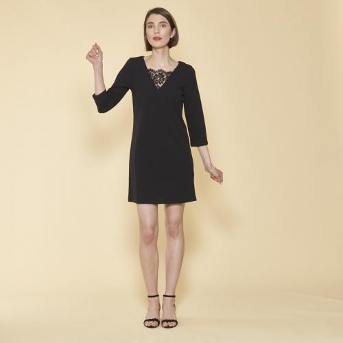 96f425a9925 3 SUISSES - Robe courte col V dentelle manches 3 4 femme - Noir -