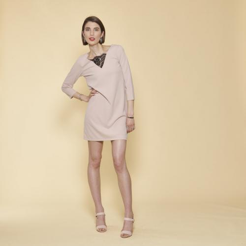 3 SUISSES - Robe courte col V dentelle manches 3/4 femme - Rose - Promotions
