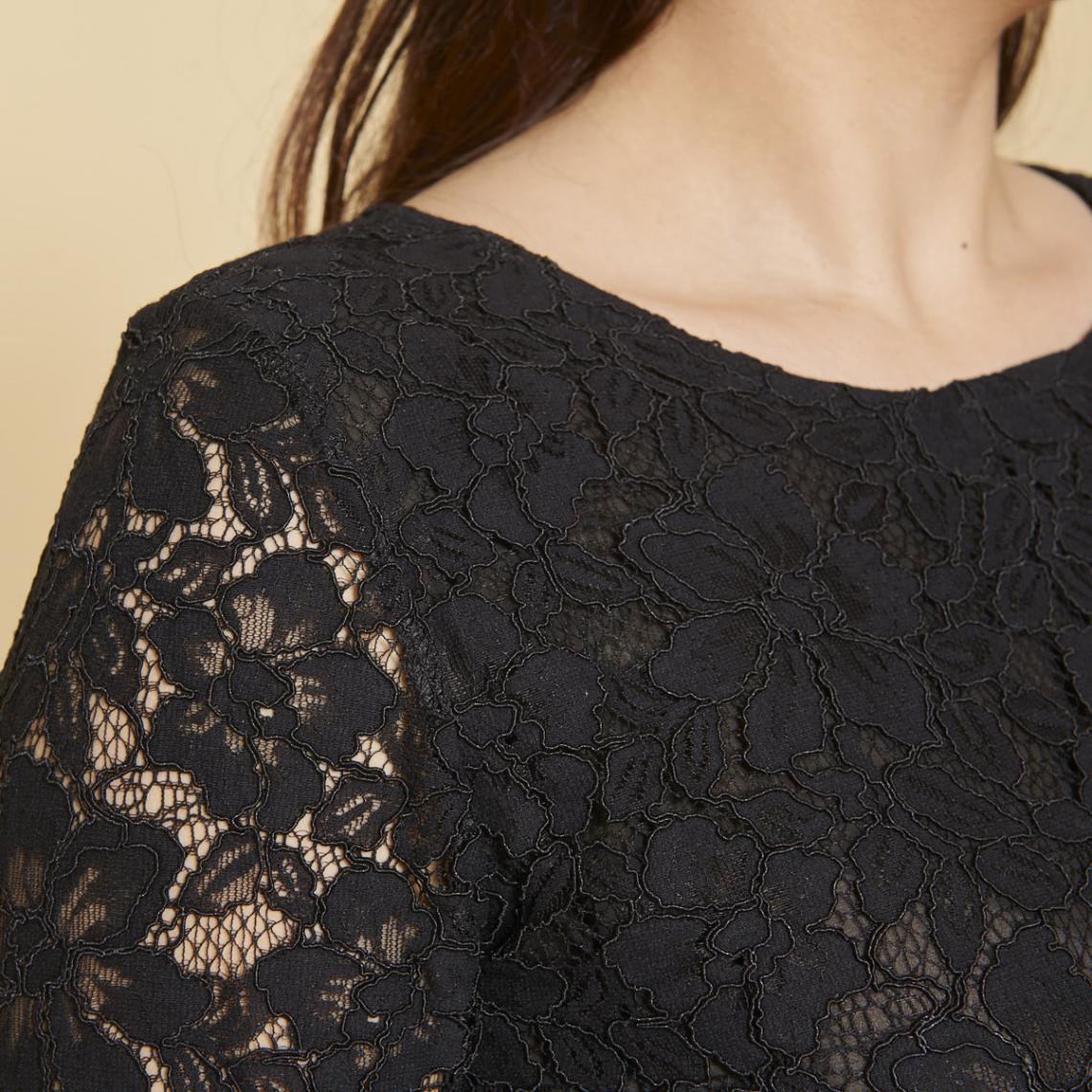 c904c831333d5 Robe courte Femme Cliquez l image pour l agrandir. Robe courte effet 2 en 1  manches 3 4 en dentelle ...