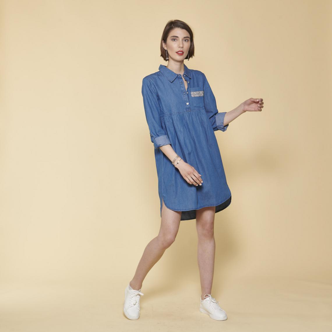 Robe courte en jean asymétrique manches longues et fronces - Bleu - 3 SUISSES - Modalova